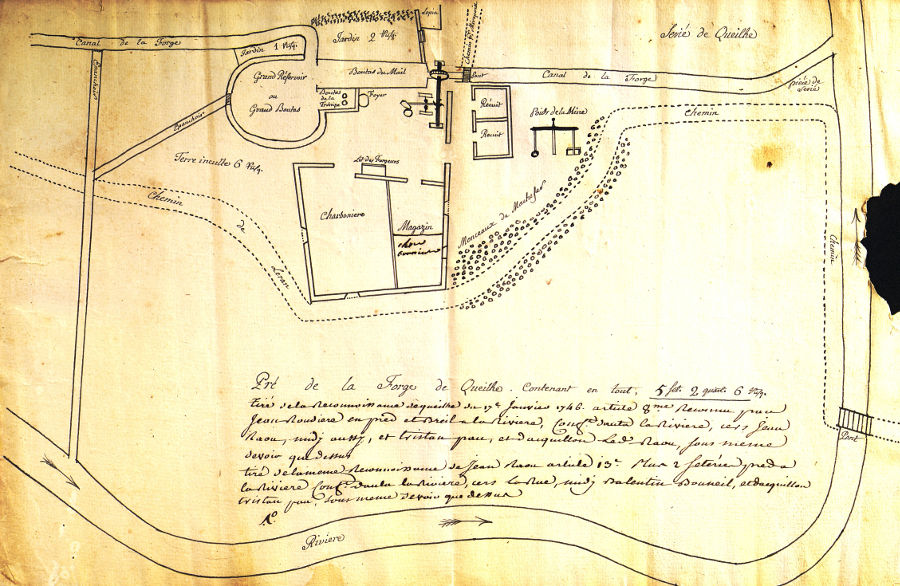 Plan de la forge de Queille, 1746
